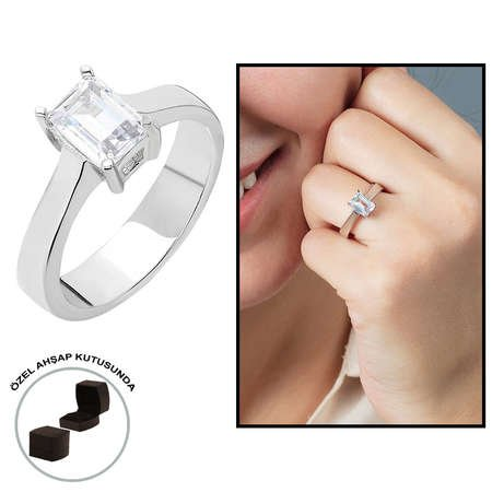 Starlight Diamond Pırlanta Montür Minimal Tasarım 925 Ayar Gümüş Bayan Baget Yüzük - Thumbnail