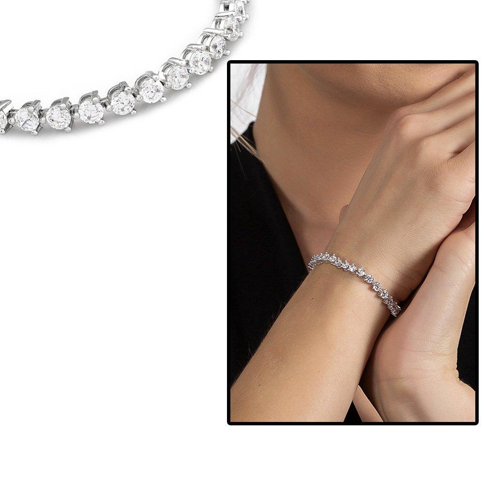 Starlight Diamond Pırlanta Montür Modern Tasarım Orta Boy 925 Ayar Gümüş Su Yolu Bileklik