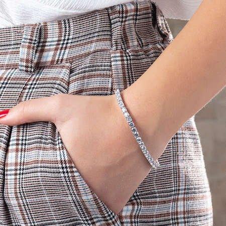 Starlight Diamond Pırlanta Montür Orta Boy 925 Ayar Gümüş Su Yolu Bileklik - Thumbnail