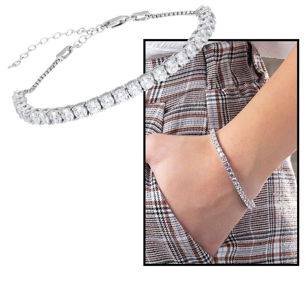 Starlight Diamond Pırlanta Montür Orta Boy 925 Ayar Gümüş Su Yolu Bileklik