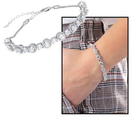 Starlight Diamond Pırlanta Montür Oval Tasarım 925 Ayar Gümüş Su Yolu Bileklik - Thumbnail