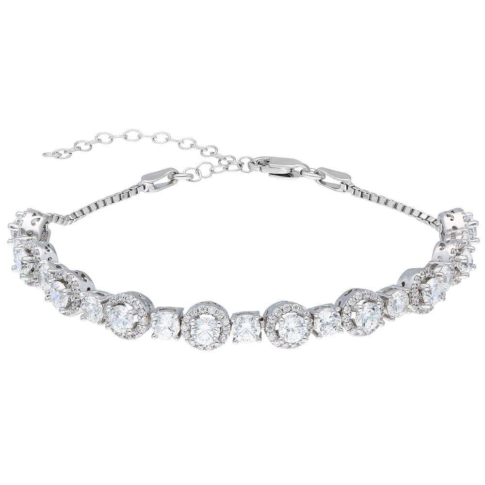Starlight Diamond Pırlanta Montür Oval Tasarım 925 Ayar Gümüş Su Yolu Bileklik