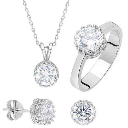 Starlight Diamond Pırlanta Montür Oval Tektaş 925 Ayar Gümüş 3'lü Takı Seti - Thumbnail