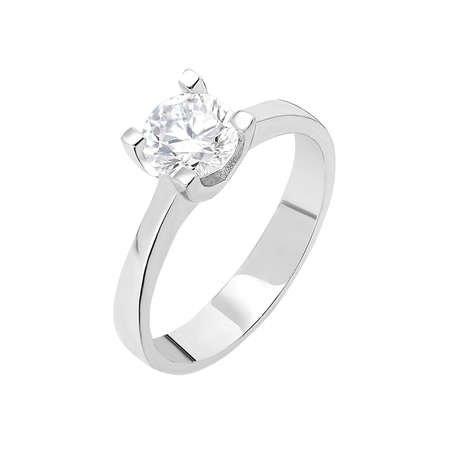 Starlight Diamond Pırlanta Montür Sade Tasarım 925 Ayar Gümüş Bayan Tektaş Yüzük - Thumbnail