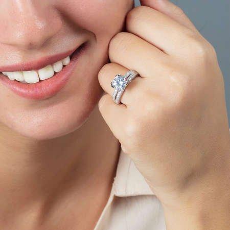 Starlight Diamond Pırlanta Montür Sevgi Temalı 925 Ayar Gümüş Bayan Tektaş Yüzük - Thumbnail