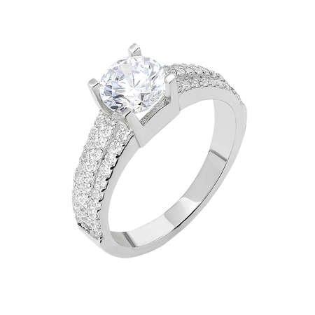 Starlight Diamond Pırlanta Montür Üç Sıralı 925 Ayar Gümüş Bayan Tektaş Yüzük - Thumbnail