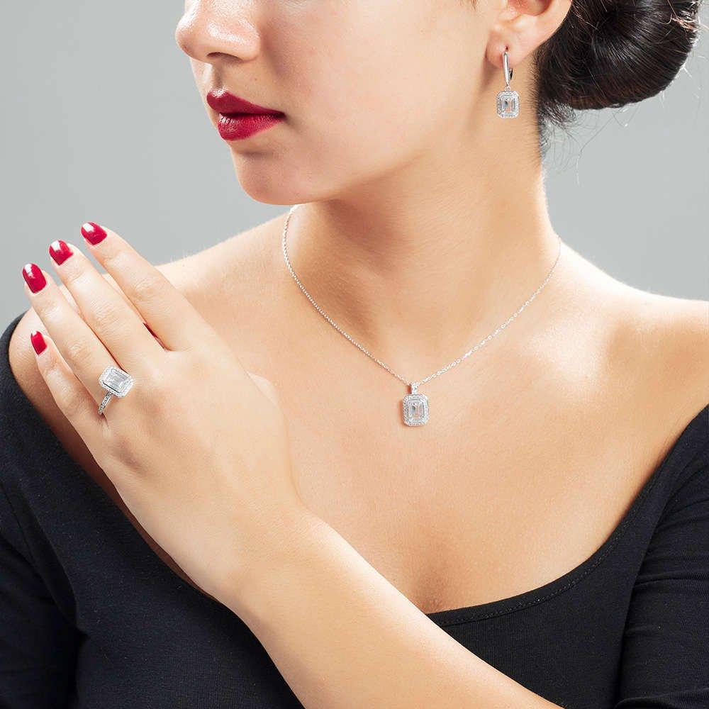 Starlight Diamond Pırlanta Montür Zarif Baget Taşlı 925 Ayar Gümüş 3'lü Takı Seti