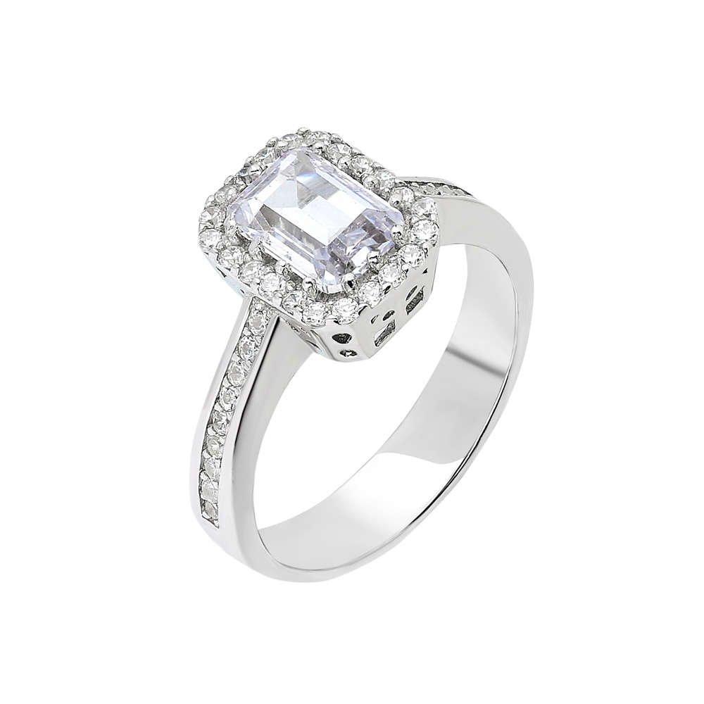Starlight Diamond Pırlanta Montür Zarif Tasarım 925 Ayar Gümüş Bayan Baget Yüzük