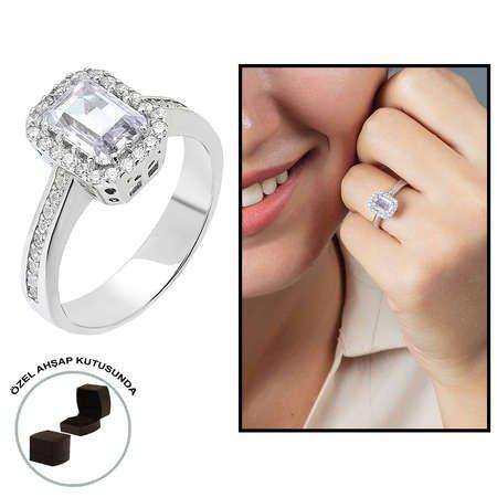 Starlight Diamond Pırlanta Montür Zarif Tasarım 925 Ayar Gümüş Bayan Baget Yüzük - Thumbnail