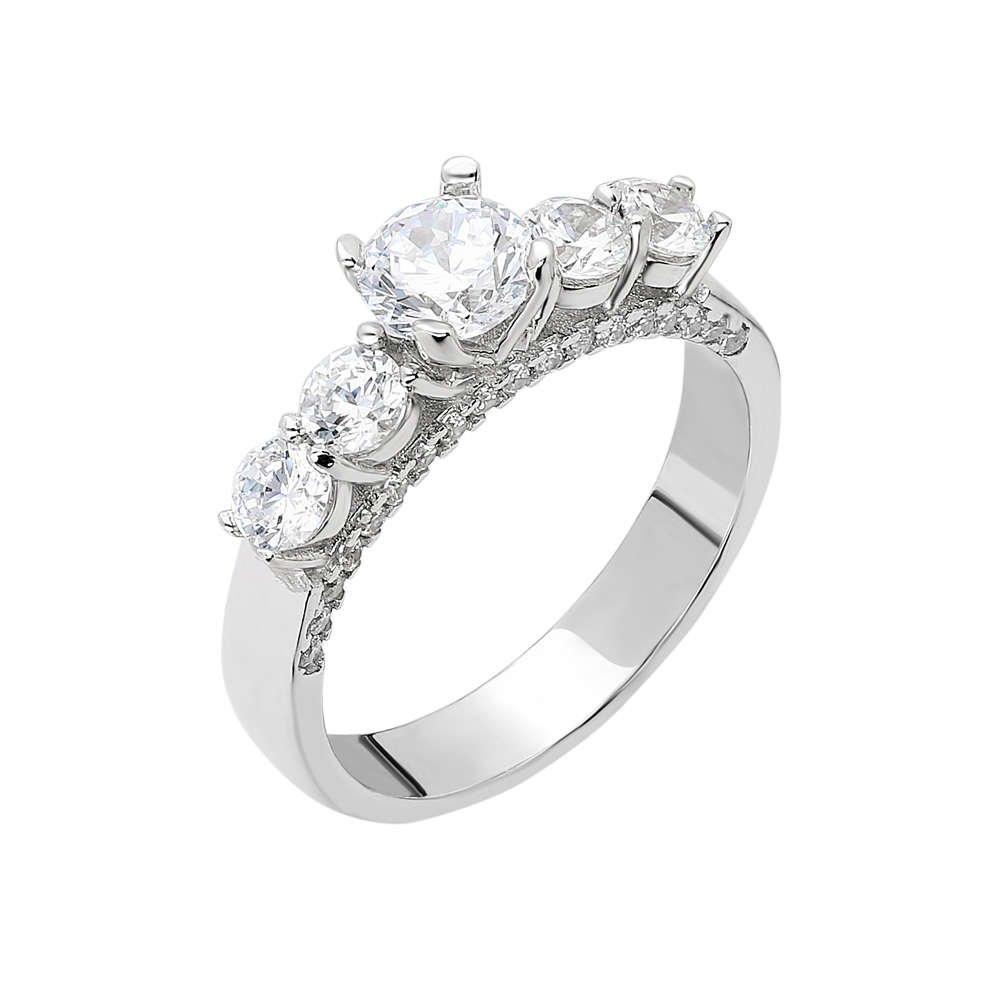 Starlight Diamond Pırlanta Montür Zarif Tasarım 925 Ayar Gümüş Bayan Beştaş Yüzük