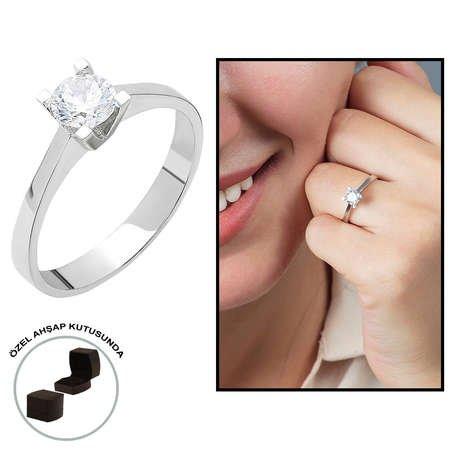Starlight Diamond Pırlanta Montür Zarif Tasarım 925 Ayar Gümüş Bayan Tektaş Yüzük - Thumbnail
