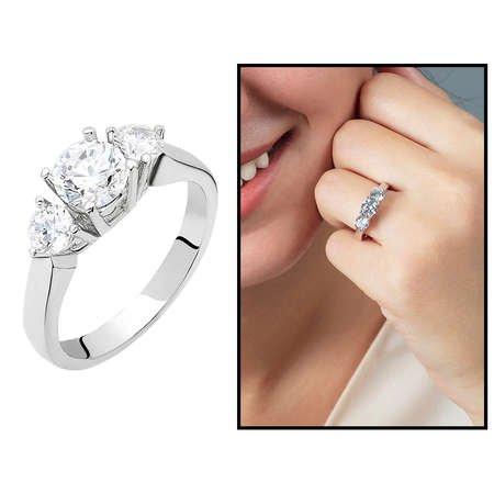 Starlight Diamond Pırlanta Montür Zarif Tasarım 925 Ayar Gümüş Bayan Tria Yüzük - Thumbnail