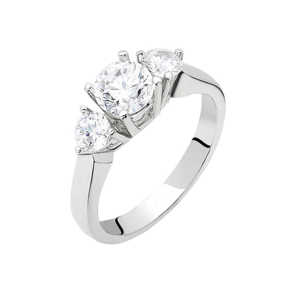 Starlight Diamond Pırlanta Montür Zarif Tasarım 925 Ayar Gümüş Bayan Tria Yüzük