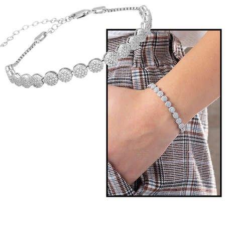 Starlight Diamond Pırlanta Montür Zarif Tasarım 925 Ayar Gümüş Su Yolu Bileklik - Thumbnail
