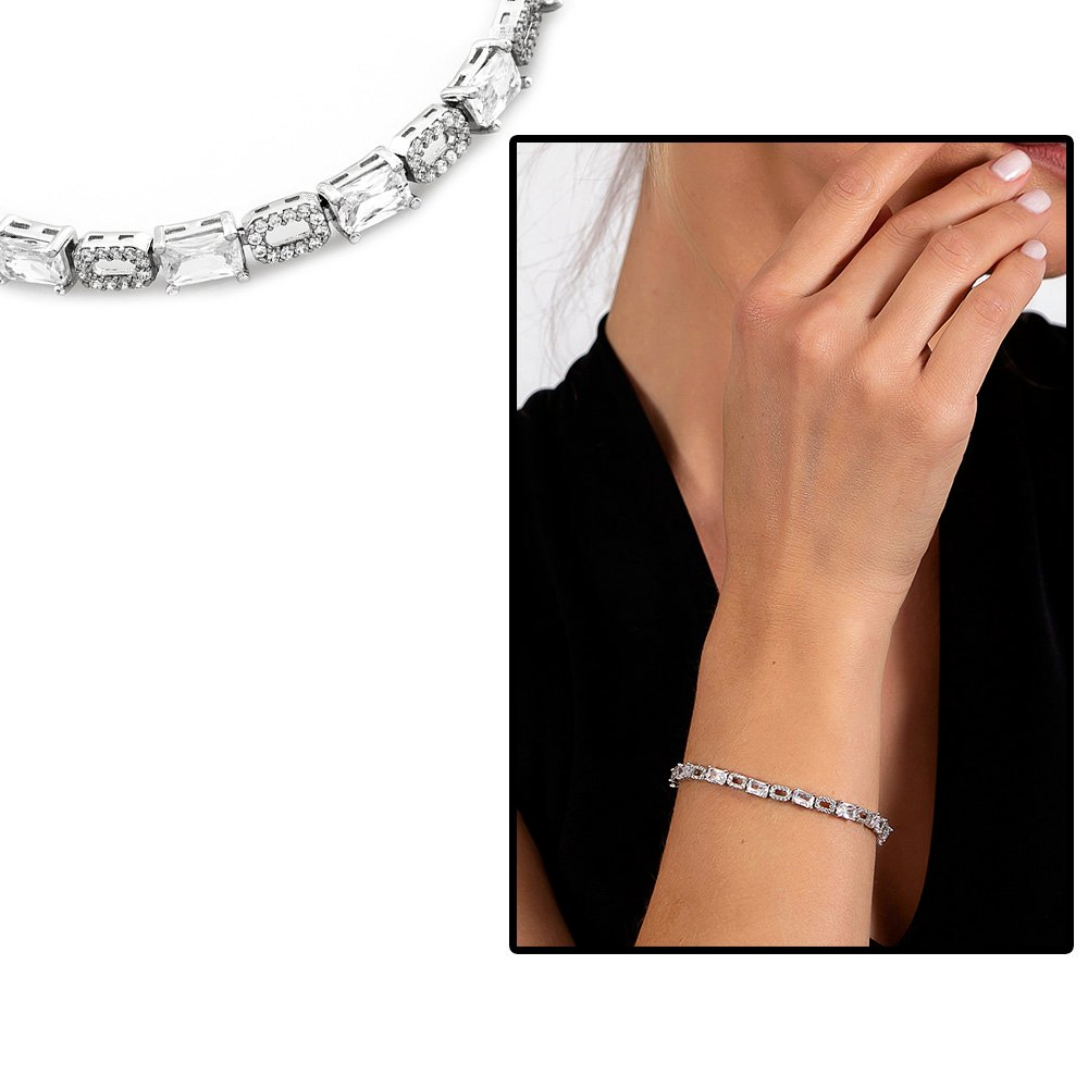 Starlight Diamond Pırlanta Montür Zirkon Taşlı Orta Boy 925 Ayar Gümüş Su Yolu Bileklik