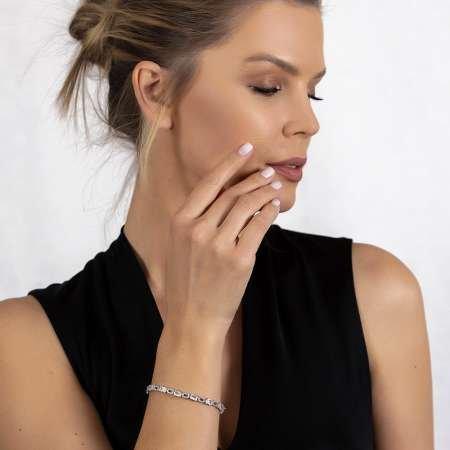 Starlight Diamond Pırlanta Montür Zirkon Taşlı Orta Boy 925 Ayar Gümüş Su Yolu Bileklik - Thumbnail