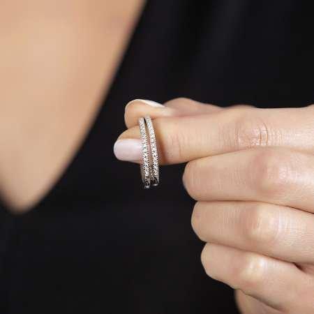 Starlight Diamond Tek Sıra Zirkon Taşlı Halka Tasarım 925 Ayar Gümüş Küpe - Thumbnail
