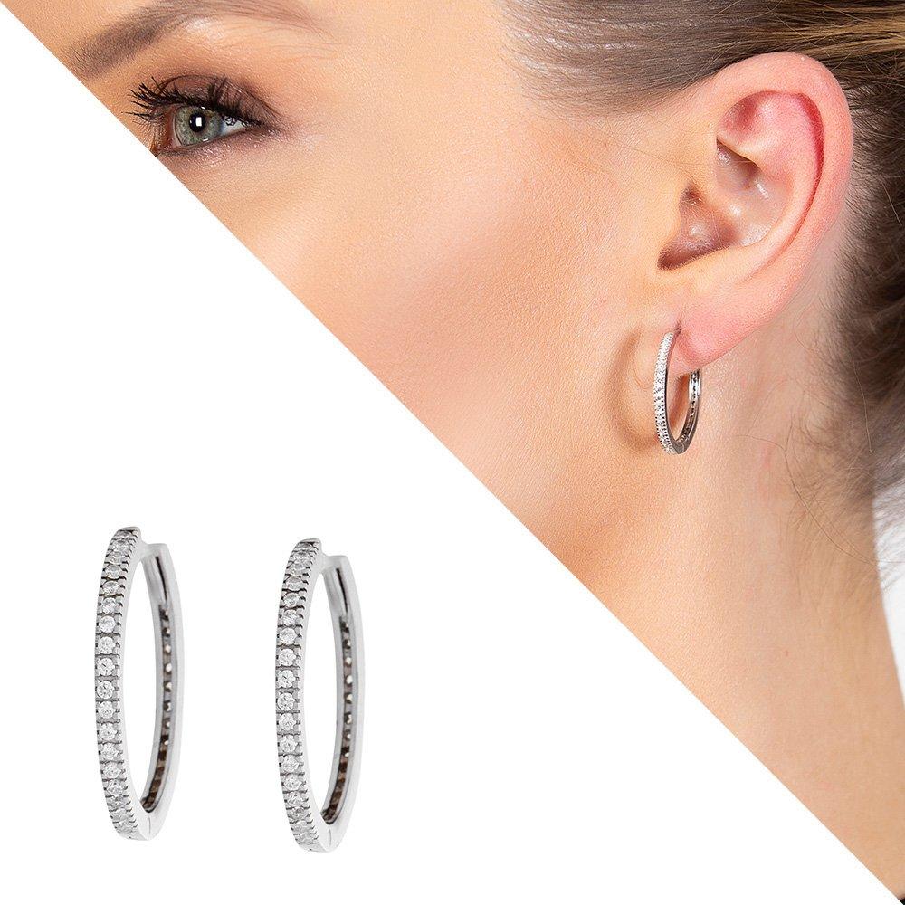 Starlight Diamond Tek Sıra Zirkon Taşlı Halka Tasarım 925 Ayar Gümüş Küpe