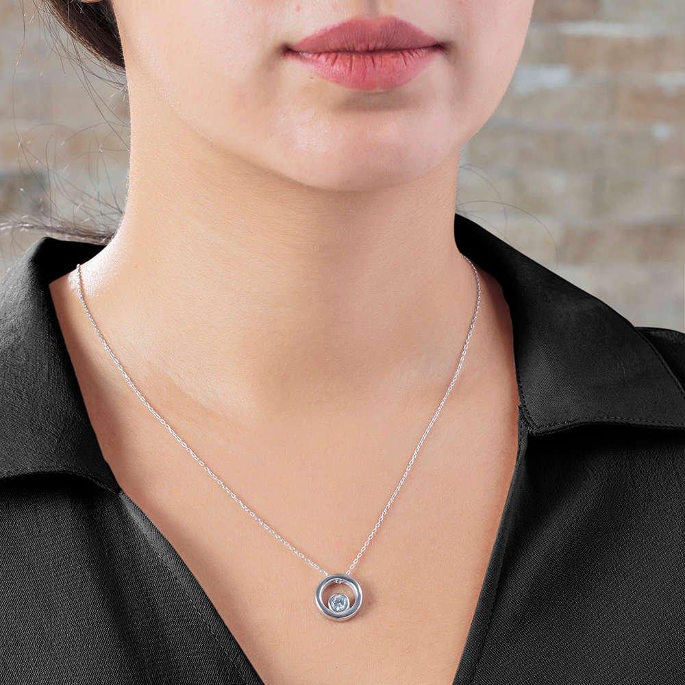 Starlight Diamond Tektaş Halka Tasarım 925 Ayar Gümüş Bayan Kolye