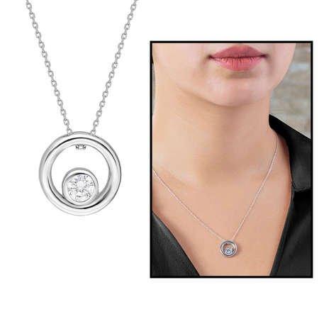 Starlight Diamond Tektaş Halka Tasarım 925 Ayar Gümüş Bayan Kolye - Thumbnail