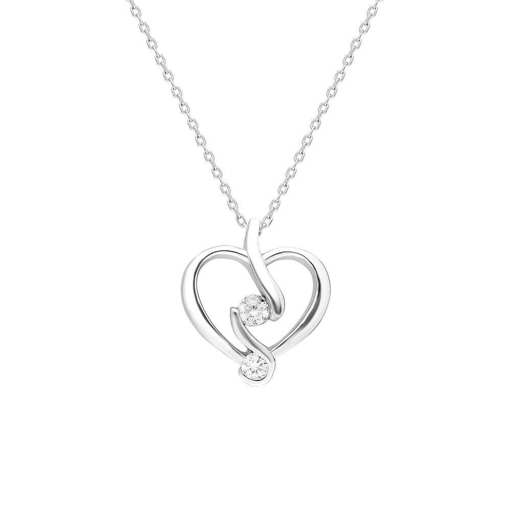 Starlight Diamond Tektaş Kalp Tasarım 925 Ayar Gümüş Bayan Kolye