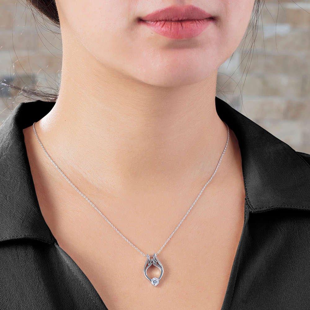 Starlight Diamond Tektaş Lale Tasarım 925 Ayar Gümüş Bayan Kolye