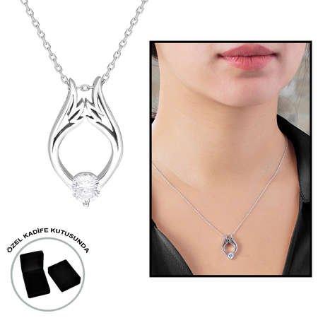 Starlight Diamond Tektaş Lale Tasarım 925 Ayar Gümüş Bayan Kolye - Thumbnail