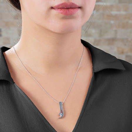 Starlight Diamond Tektaş Modern Tasarım 925 Ayar Gümüş Bayan Kolye - Thumbnail