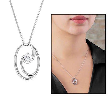 Starlight Diamond Tektaş Oval Tasarım 925 Ayar Gümüş Bayan Kolye - Thumbnail