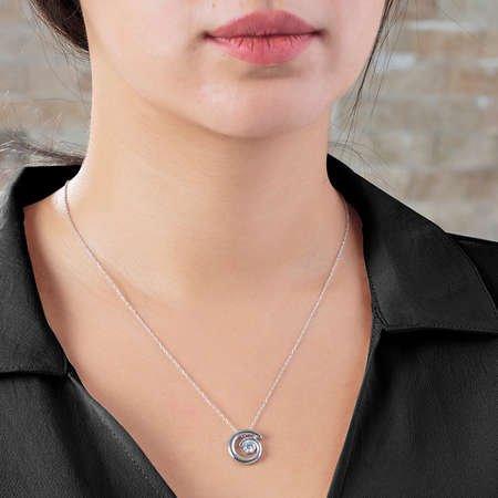 Starlight Diamond Tektaş Spiral Tasarım 925 Ayar Gümüş Bayan Kolye - Thumbnail