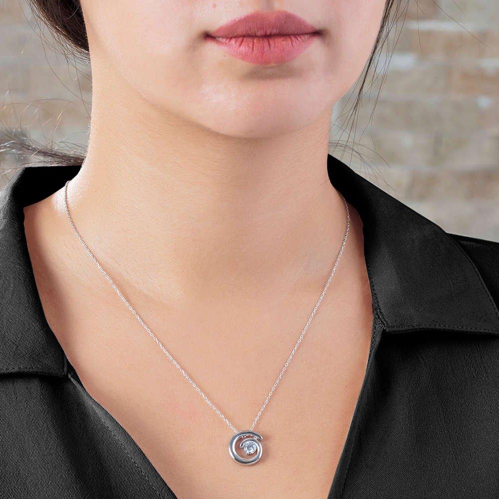 Starlight Diamond Tektaş Spiral Tasarım 925 Ayar Gümüş Bayan Kolye