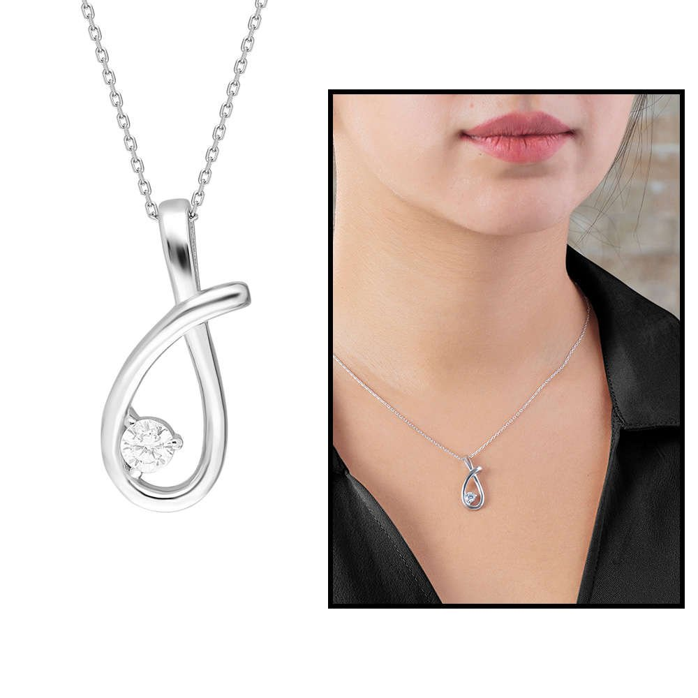 Starlight Diamond Tektaş Zarif Tasarım 925 Ayar Gümüş Bayan Kolye