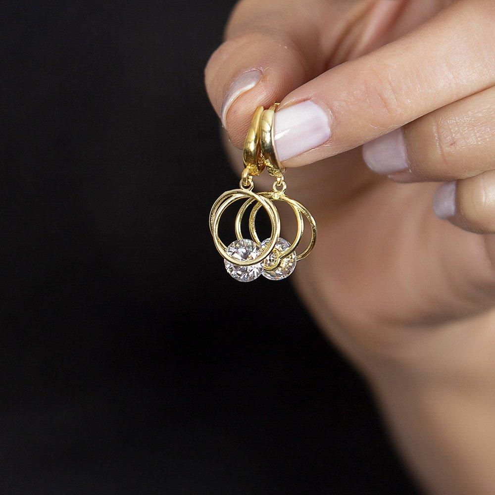 Starlight Diamond Tektaşlı Kalp Tasarım Gold Renk 925 Ayar Gümüş Sallantılı Küpe