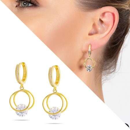 Starlight Diamond Tektaşlı Kalp Tasarım Gold Renk 925 Ayar Gümüş Sallantılı Küpe - Thumbnail