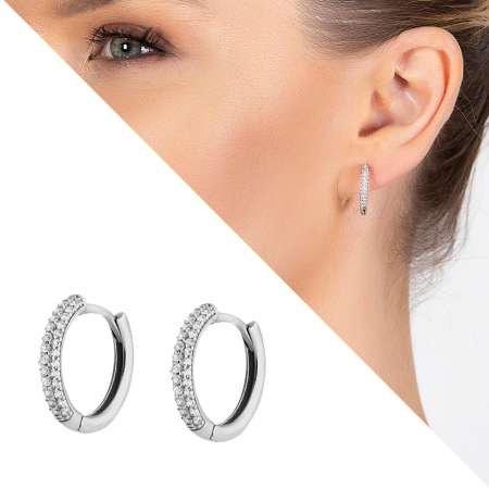 Starlight Diamond Üç Sıra Zirkon Taşlı Halka Tasarım 925 Ayar Gümüş Küpe - Thumbnail