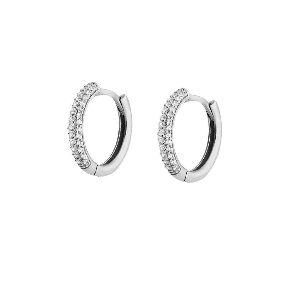 Starlight Diamond Üç Sıra Zirkon Taşlı Halka Tasarım 925 Ayar Gümüş Küpe