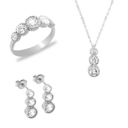 Starlight Diamond Zirkon Taşlı Gözyaşı Tasarım 925 Ayar Gümüş 3'lü Takı Seti - Thumbnail