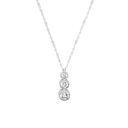Starlight Diamond Zirkon Taşlı Gözyaşı Tasarım 925 Ayar Gümüş Kadın Kolye - Thumbnail