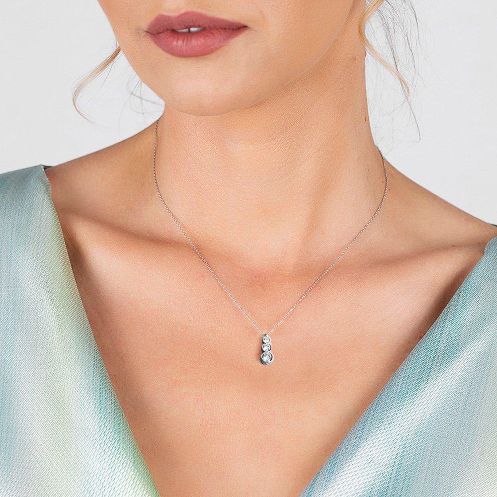Starlight Diamond Zirkon Taşlı Gözyaşı Tasarım 925 Ayar Gümüş Kadın Kolye