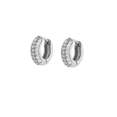Starlight Diamond Zirkon Taşlı Halka Tasarım 925 Ayar Gümüş Küpe - Thumbnail