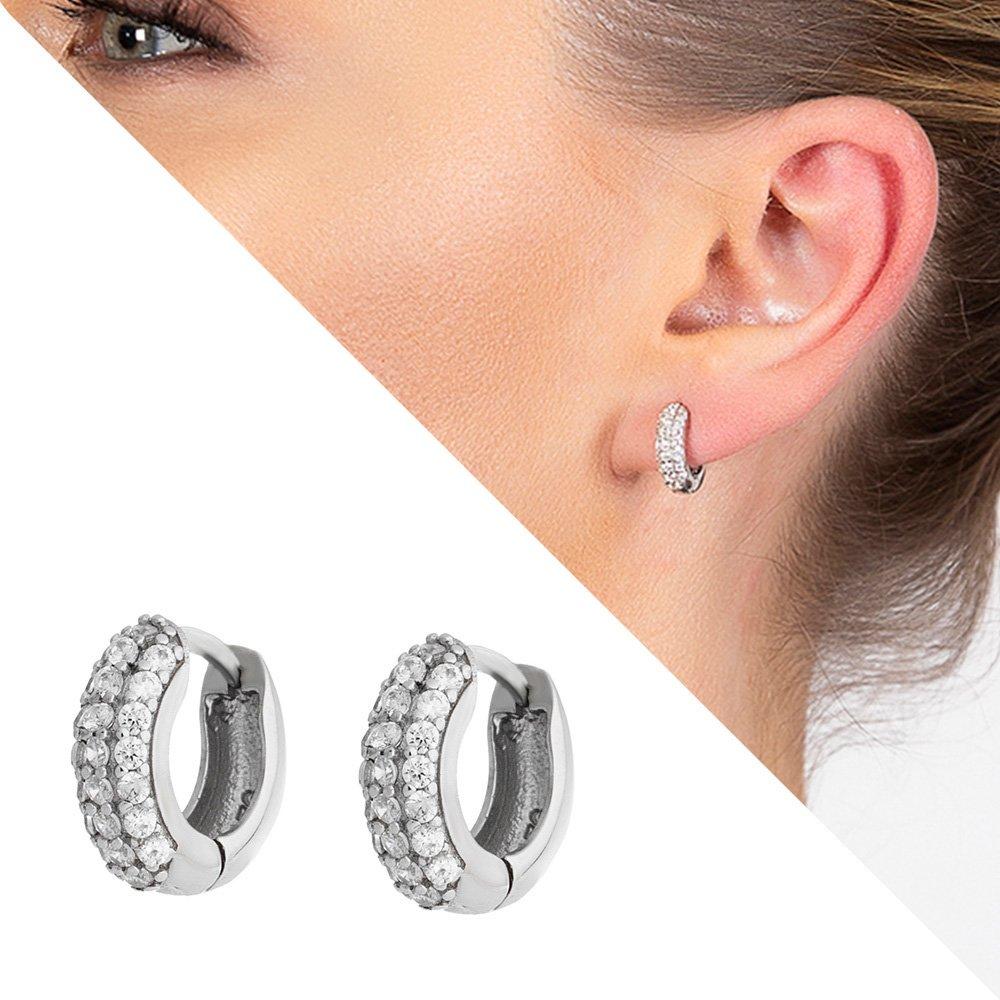 Starlight Diamond Zirkon Taşlı Halka Tasarım 925 Ayar Gümüş Küpe