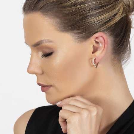 Starlight Diamond Zirkon Taşlı Kalp Tasarım Rose Renk 925 Ayar Gümüş Küpe - Thumbnail