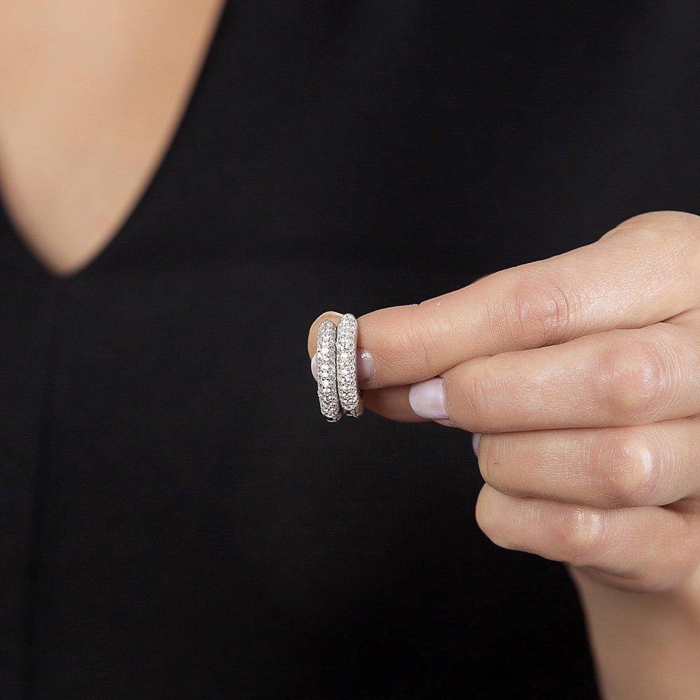 Starlight Diamond Zirkon Taşlı Maxi Halka Tasarım 925 Ayar Gümüş Küpe