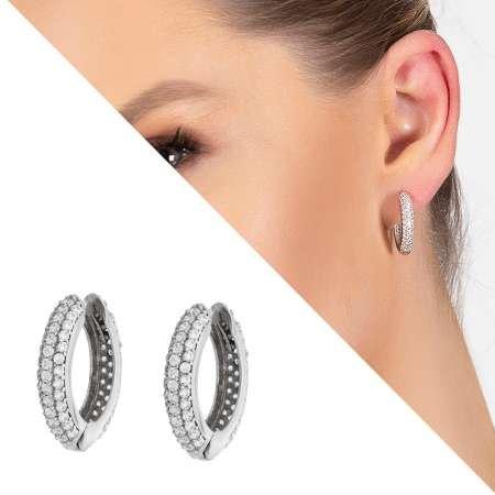 Starlight Diamond Zirkon Taşlı Maxi Halka Tasarım 925 Ayar Gümüş Küpe - Thumbnail