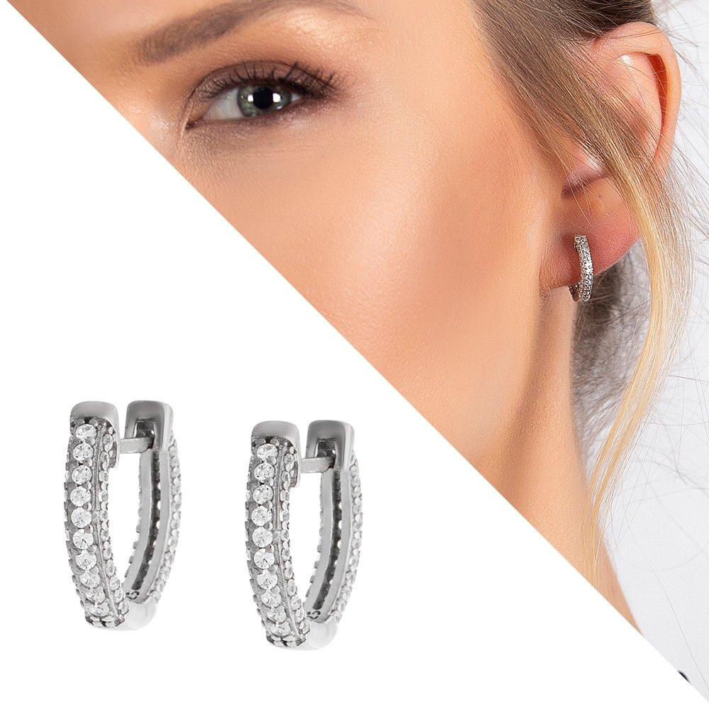 Starlight Diamond Zirkon Taşlı Mikro Halka Tasarım 925 Ayar Gümüş Küpe