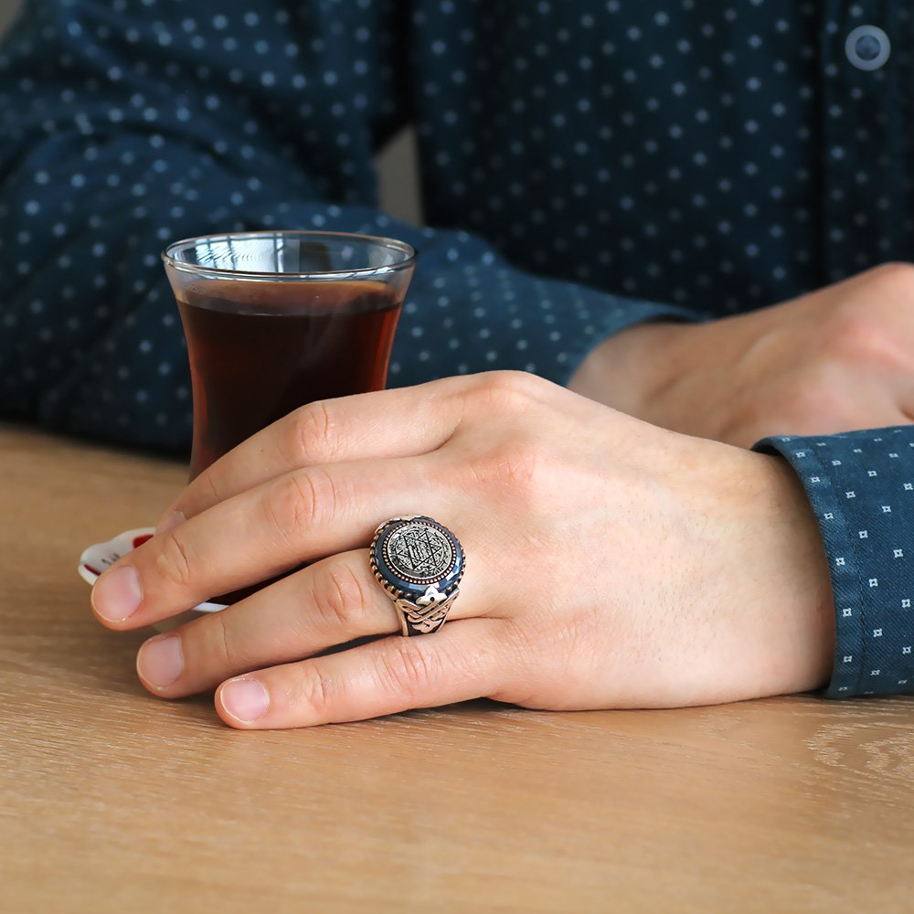 Süleyman Mührü Motifli Mavi Zirkon Taşlı 925 Ayar Gümüş Erkek Yüzük