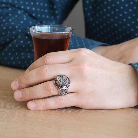 Süleyman Mührü Motifli Siyah Zirkon Taşlı 925 Ayar Gümüş Erkek Yüzük - Thumbnail