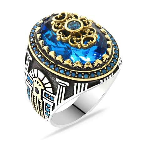 Sur Kapısı Temalı Faset Kesim Aqua Mavi Zirkon Taşlı 925 Ayar Gümüş Erkek Yüzük - Thumbnail