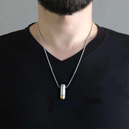 Tabanca Mermisi Tasarım Kalın Zincirli 925 Ayar Gümüş Erkek Kolye - Thumbnail