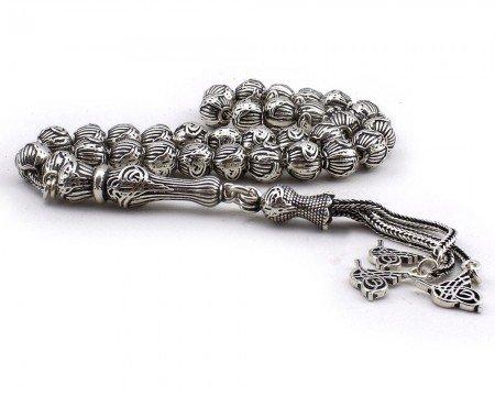 Tuğra Püsküllü ve İşlemeli Küre Kesim 925 Ayar Gümüş Tesbih - Thumbnail